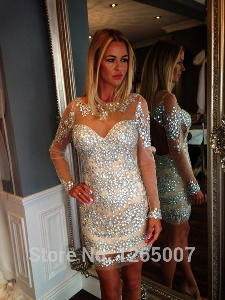 Aliexpress.com : Buy Scoop Neck Long Sleeves Sparkly Rhinestone Beaded Mini Short Sheath Long Sleeves Dress Party Dresses New Fashion from Reliable dress batik suppliers on SFBridal