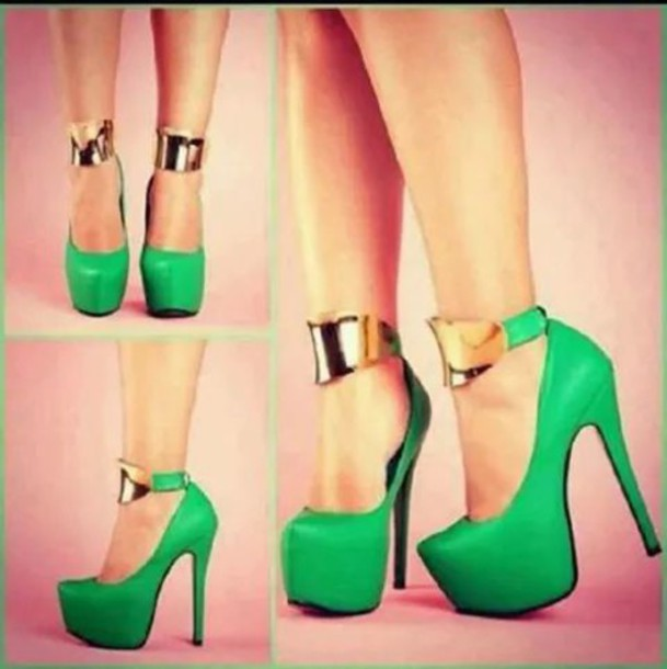 shoes green heels green high heels high heels gold heels