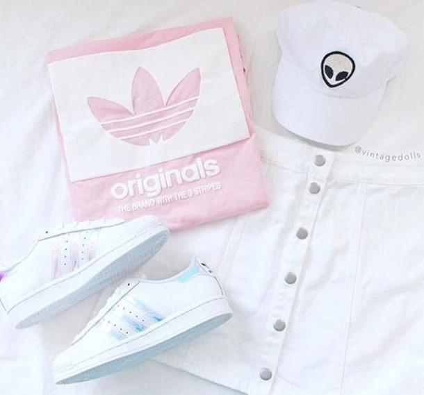 shirt pink leather caps cap pink caps shoes adidas adidas shoes adidas shirt 98b50d3f647