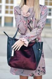 dress,tumblr,floral,floral dress,embroidered,embroidered dress,lilac,long sleeves,long sleeve dress,mini dress,bag,burgundy