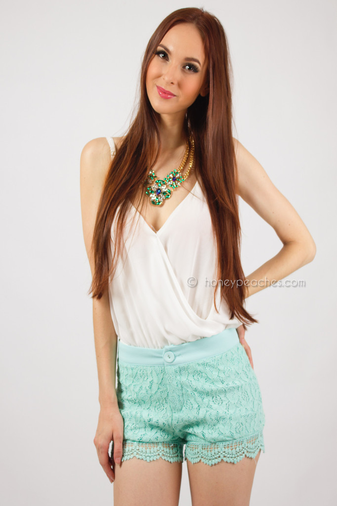 Sweet Lace Mint Shorts – Honey Peaches