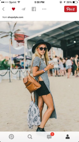 boho slit knit shirt grey brandy melville sunglasses slit top knitwear black fedora black hat black shorts brown leather bag leather backpack ankle boots buckle boots skeleton mini backpack