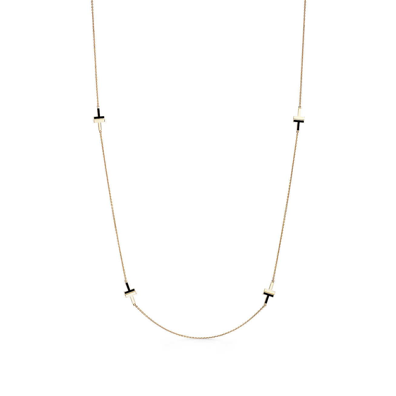 Tiffany T Two black onyx necklace in 18k gold