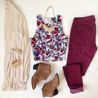 top tank top outfit cardigan pants floral tank top jeans shirt jewels hair accessory shoes blouse brown brown booties heels red flowers t-shirt