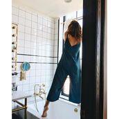 jumpsuit,blue jumpsuit,cropped jumpsuit,bathroom,tumblr