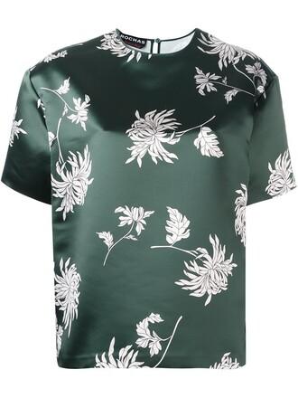 t-shirt shirt floral print green top