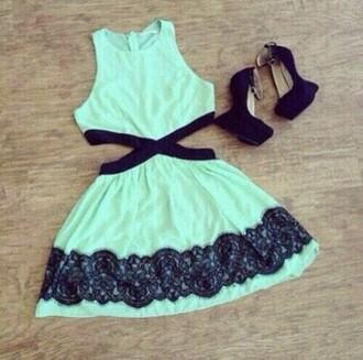 dress green dress black lace cut-out dress