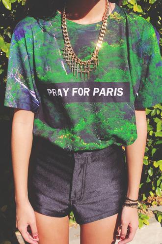 shirt paris green black t-shirt blouse pray for paris rap old school