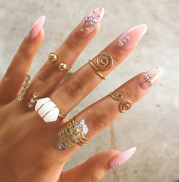 Jewels Gold Ring Finger Rings Beautiful Nails Nail Polish Pink White Girly Raw Stone Knuckle Jewelry
