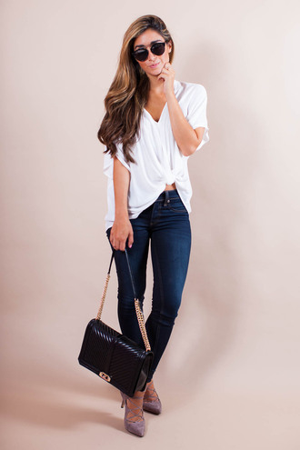 the darling detail - austin fashion blog blogger blouse jeans shoes bag sunglasses dress top