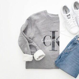 sweater calvin klein grey