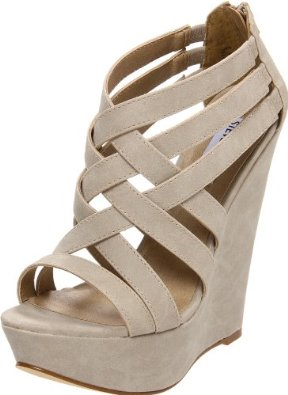Steve Madden Women's Xcess Wedge Sandal Bone Women's - SoleShoppers | Shop w/ Free Delivery in the US