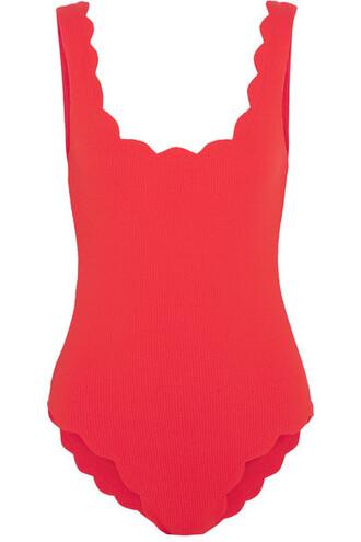scalloped red swimwear