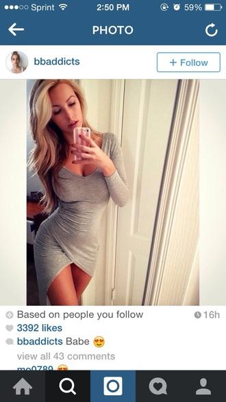 dress gray dress cotton slit dress