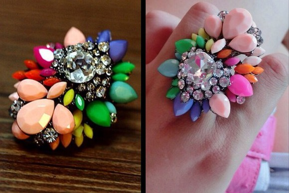multicolor jewels rhinestones aliexpress ring shourouk fashion