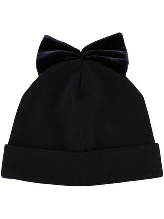 bow beanie blue hat