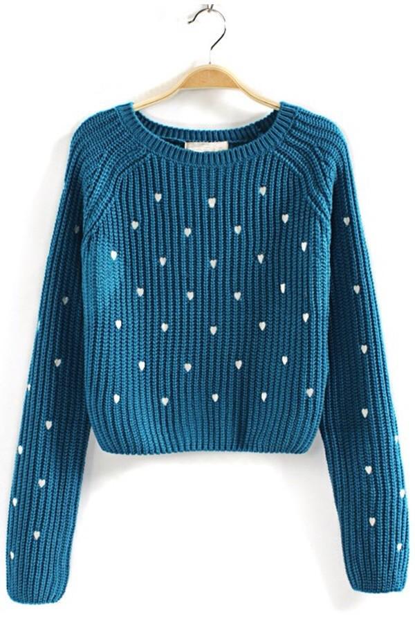 blue cute white hearts sweater