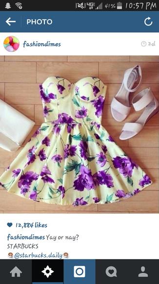floral dress yellow dress strapless dress short dress homecoming dress