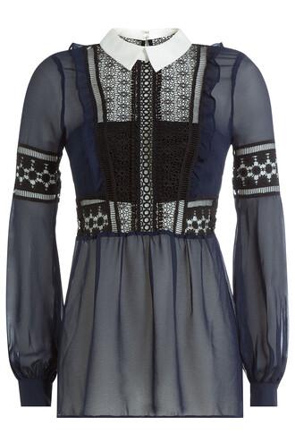 blouse chiffon blouse chiffon blue top
