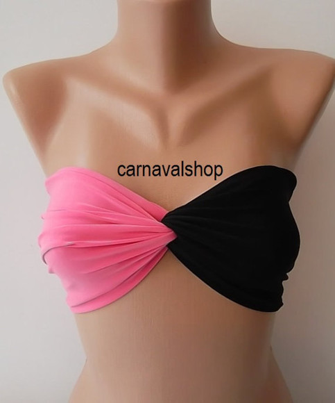 black swimwear bikini spandex bandeau pink summer outfits beach