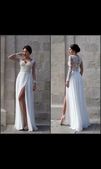 dress white lace chiffon prom dress white prom dress long sleeve prom dress lace dress