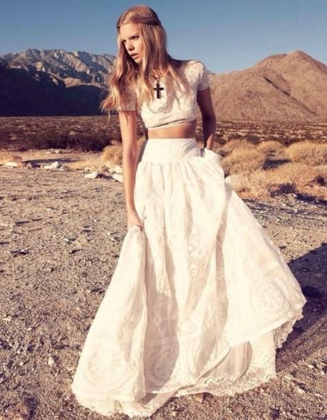 dress hippie white two piece dress set