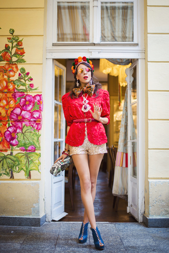 macademian girl blogger jacket jewels belt hair accessories colorful mirrored sunglasses peep toe boots shorts pouch red sequins