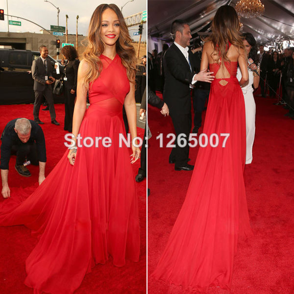 Aliexpress.com : Buy Rihanna Grammy Red Halter See Through Waist Open Back Ruffles A Line Chiffon Celebrity Dresses New Fashion For Summer from Reliable fashion dress 2010 suppliers on SFBridal