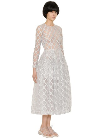 dress tulle dress embroidered silver
