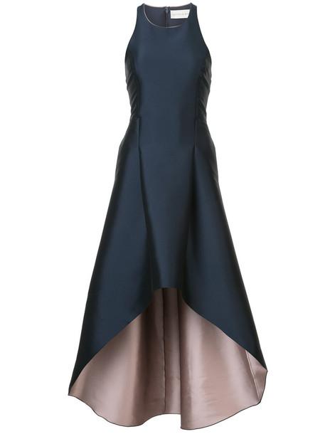 Sachin & Babi gown high women blue satin dress