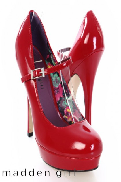 Red Patent Mary Jane Heels Tsaa Heel