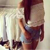 tank top,vintage,white,floral,spitze,top,bandeau,shorts,nieten,jeans,blouse