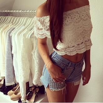 tank top vintage white floral spitze top bandeau shorts nieten jeans