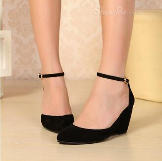shoes suede wedges black