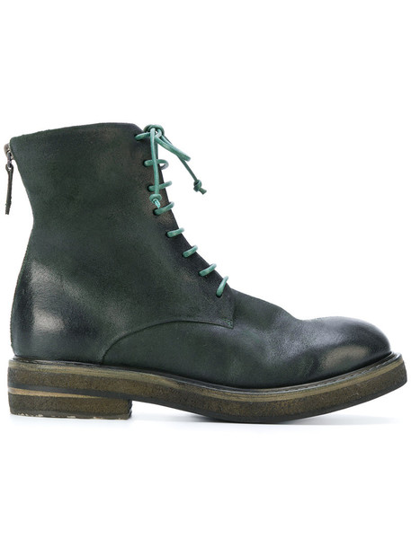 Marsèll women boots lace leather green shoes
