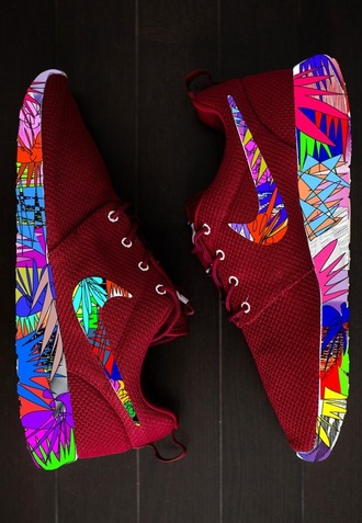 shoes trainers sneakers nike bright nike shoes exotic colourful floral burgundy nike roche run nike roshe run running shoes fitness beautiful nikerosheruns