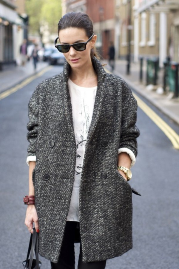 Tweed Drop Arm Boyfriend Coat - Topshop