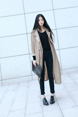 coat jacket beige pastel long fall outfits winter outfits chic elegant korean fashion kstyle black warm soft nice korean style streetstyle streetwear layered