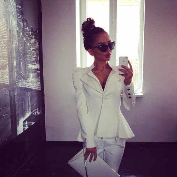 jacket blazer white bag peplum peplum top hot top