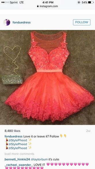 dress peach/pink and lace