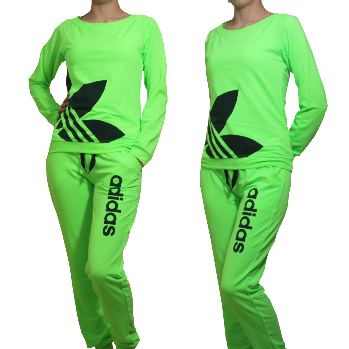 Adidas Neon Women Tracksuit Sweatsuit Track Pants Tops green - Athletic Apparel
