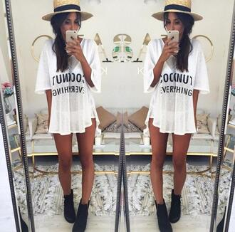 shirt coconut everything coconut white and black tshirt white t-shirt summer swimwear cover up beach white t-shirt graphic tee