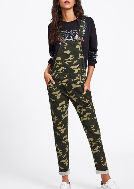 jumpsuit girly camouflage one piece overalls denim overalls suspenders