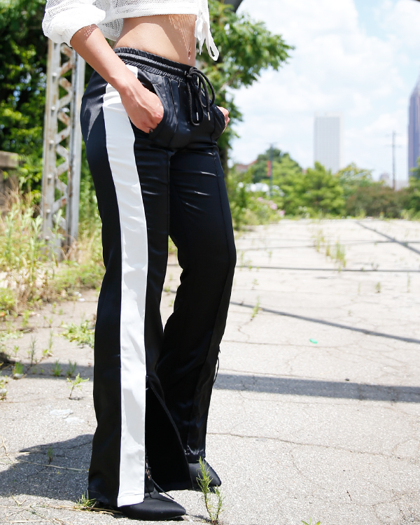 c461ad3b GIRLS RULE Shiny Black and White Striped Track Pants at FLYJANE