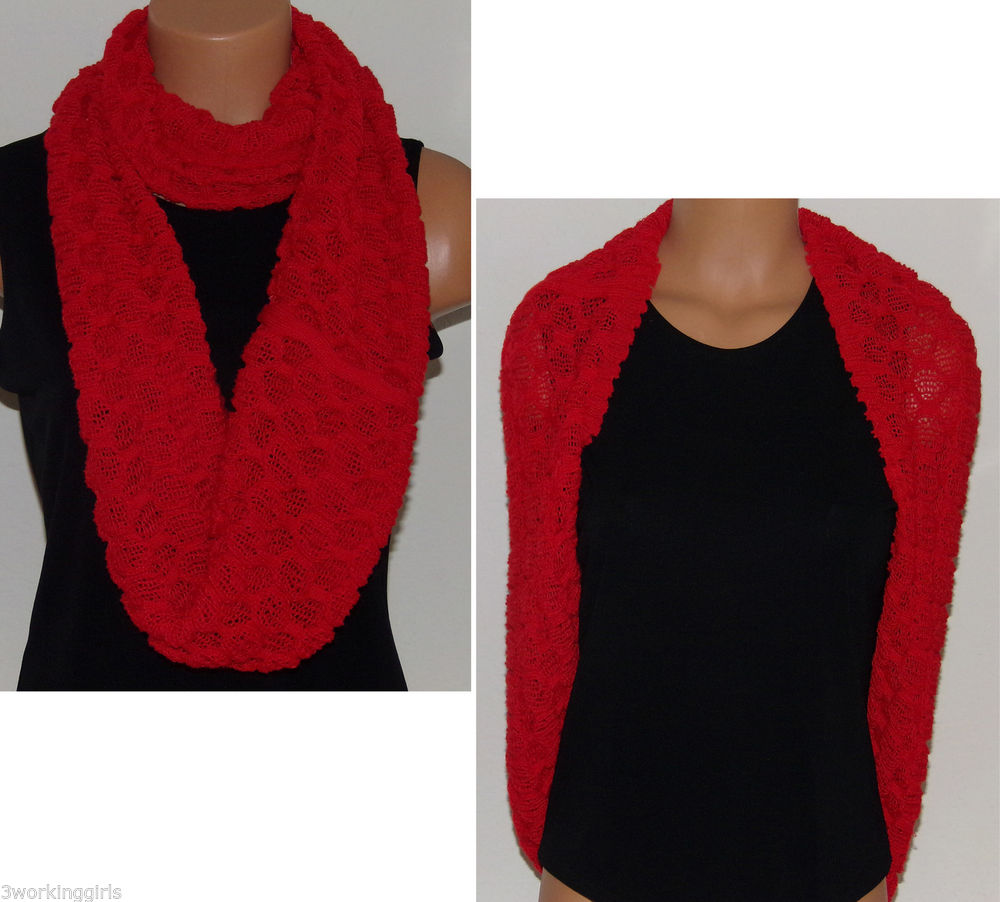 Orange Infinity Scarf Popcorn Knit Infinity Scarf Loop NEW M Style Lab Org. $24