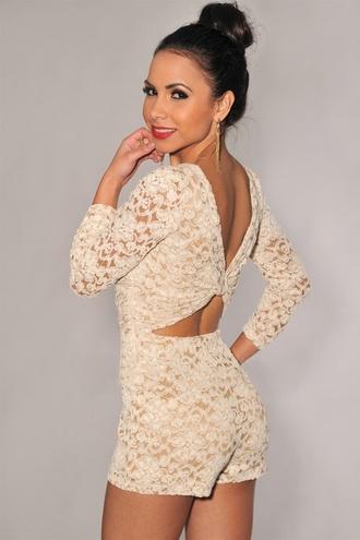 crochet romper beige dress beige