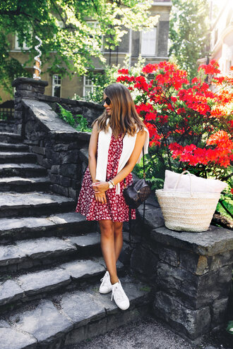dress tumblr red dress floral floral dress mini dress sneakers white sneakers adidas adidas shoes shoes