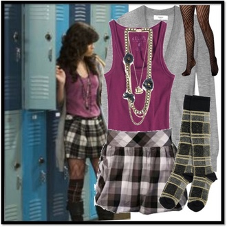 shirt cardigan purple grey cardigan gray grey stockings shoes selena gomez wizards of waverly place jewels tights socks