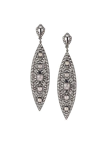 Loree Rodkin women earrings gold silver grey jewels