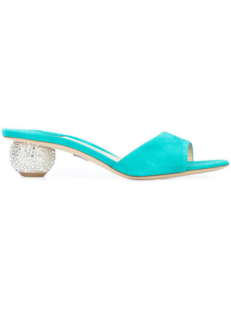 heel women mules leather blue shoes